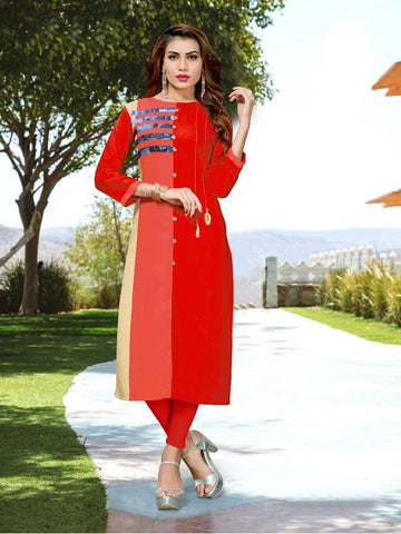 Designer Red Color Printed Kurti