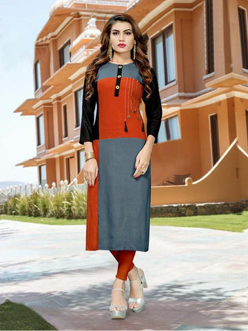 Designer Grey & Red Color Printed Kurti