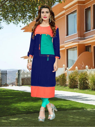 Designer Blue Color Printed Kurti