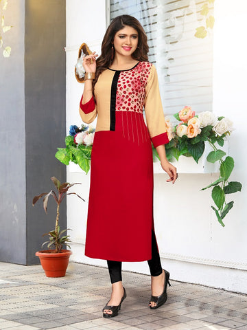 Designer Cream & Red Color Printed Kurti