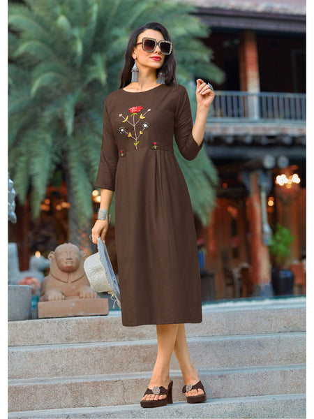 Designer and Beautiful Brown Color Straight Cut Kurti