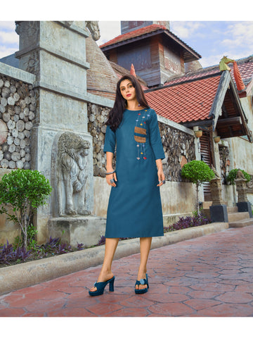 Designer and Beautiful Blue Color Straight Cut Kurti