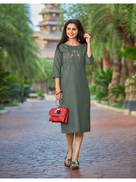 Designer and Beautiful Dark Green Color Straight Cut Kurti