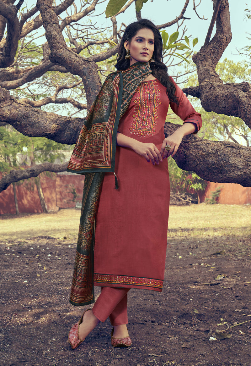 Light Burgundy Mini Silk Embroidered Straight Cut Suit