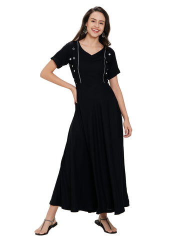 Black Rayon Mirror Worked Dress