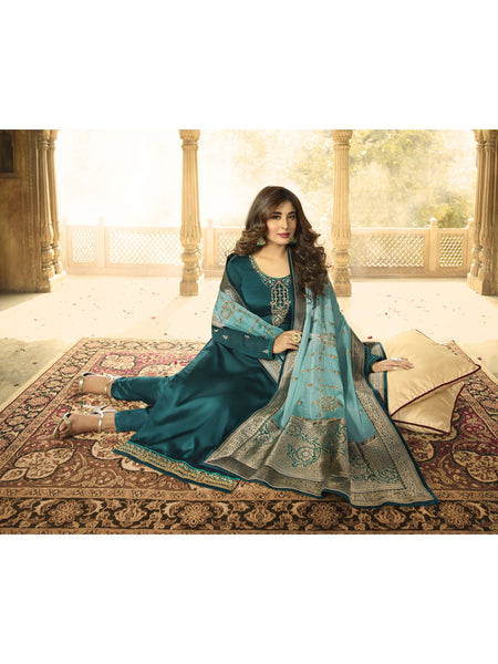 Designer and Beautiful Cobalt Green Color Straight Cut Suit