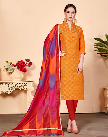 Orange Color Banarasi Silk Straight Cut Suit