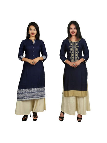Set of 2 Kurtis and 2 Plazzos in Blue Color