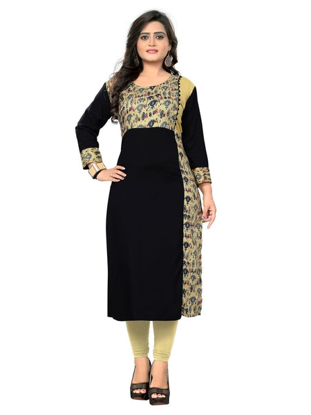 Designer Black Color Rayon Printed Long Straight Cut Kurti