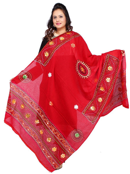 Red Cotton Dupatta with Aari Embroidery - PurpleTulsi.com
