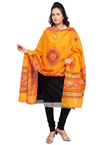 Orange Cotton Dupatta with Aari Embroidery - PurpleTulsi.com