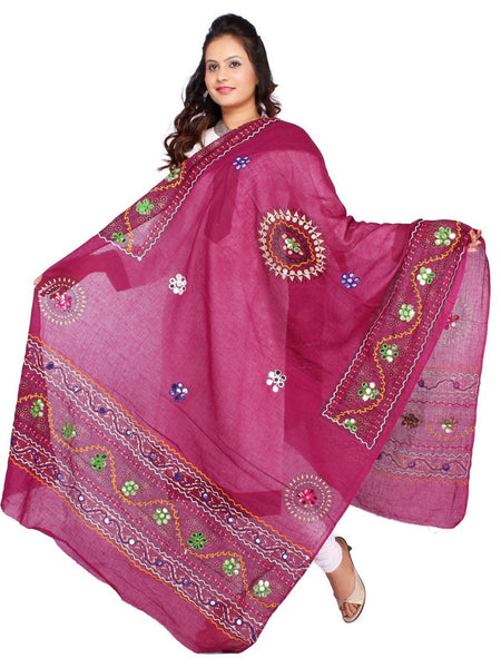 Purple Cotton Dupatta with Aari Embroidery - PurpleTulsi.com