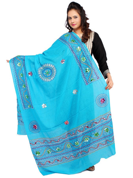 Sky Blue Cotton Dupatta with Aari Embroidery - PurpleTulsi.com
