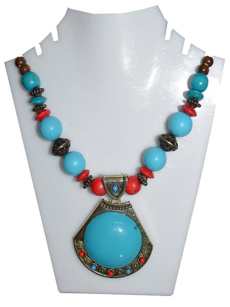 Turquoise Blue Necklace and Earrings Set - PurpleTulsi.com