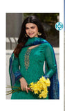Green Crepe Silk Embroidered Straight Cut Suit
