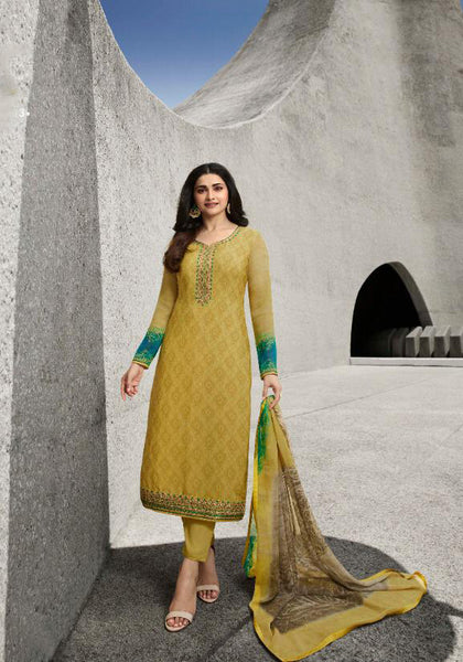 Yellow Crepe Silk Embroidered Straight Cut Suit