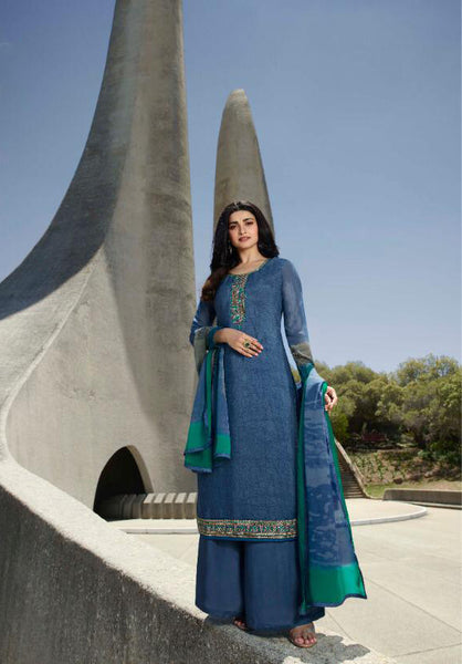Blue Crepe Silk Embroidered Straight Cut Suit