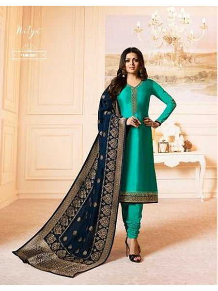 Designer Teal Green French Crepe Embroidered Straight Cut Suit with Banarasi Dupatta