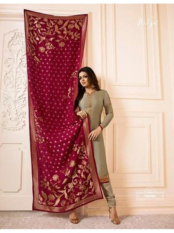 Designer Light Brown Color French Crepe Embroidered Straight Cut Suit with Banarasi Dupatta