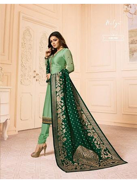 Designer Green Color French Crepe Embroidered Straight Cut Suit with Banarasi Dupatta
