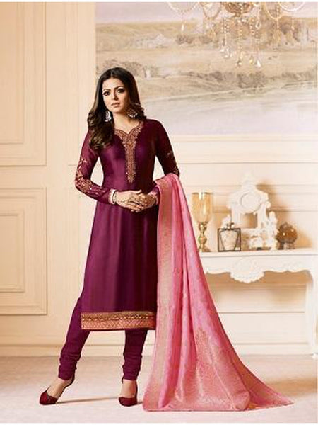 Designer Dark Purple Color French Crepe Embroidered Straight Cut Suit with Banarasi Dupatta