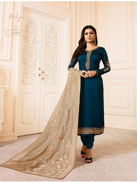 Designer Navy Blue Color French Crepe Embroidered Straight Cut Suit with Banarasi Dupatta