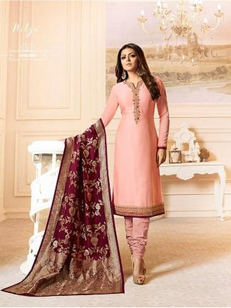 Designer Peach Color French Crepe Embroidered Straight Cut Suit with Banarasi Dupatta