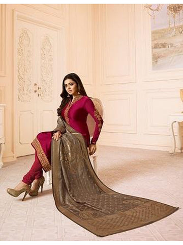 Designer Pink Shine Color French Crepe Embroidered Straight Cut Suit with Banarasi Dupatta