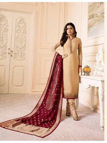 Designer Cream Color French Crepe Embroidered Straight Cut Suit with Banarasi Dupatta