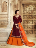 Dark Maroon Embroidered Top with Skirt, Churidar and Dupatta