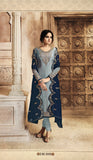 Grey Embroidered Top with Skirt, Churidar and Dupatta