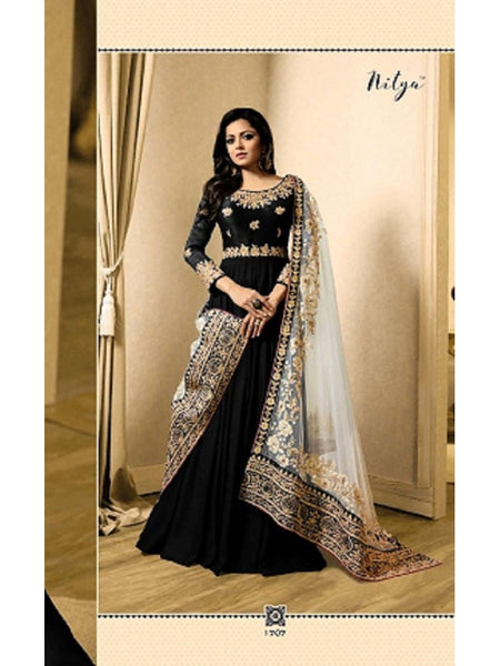Designer Black Color Banglori Silk + Faux Georgette Embroidered Work Anarkali Suit