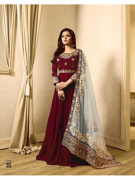 Designer Maroon Color Banglori Silk + Faux Georgette Embroidered Work Anarkali Suit