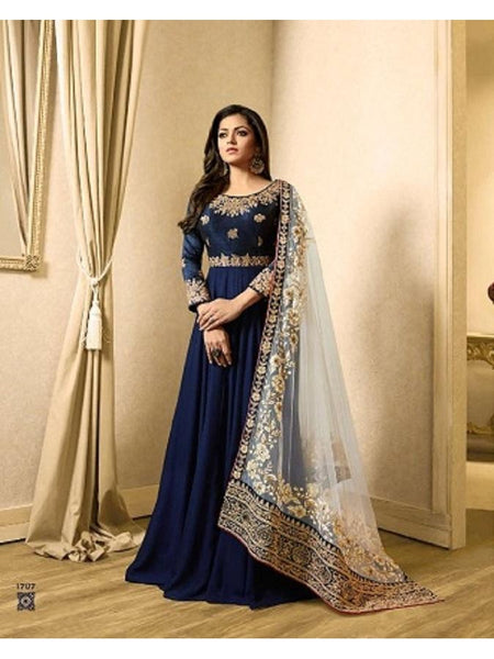 Designer Navy Blue Color Banglori Silk + Faux Georgette Embroidered Work Anarkali Suit