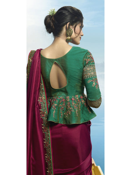 Designer and Beautiful Wine Color Saree