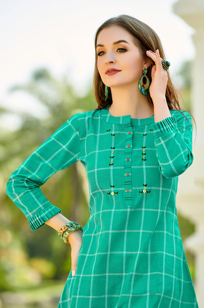 Green Cotton Stitched Top With Resham Embroidery Work