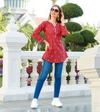 Red Cotton Stitched Top With Resham Embroidery Work