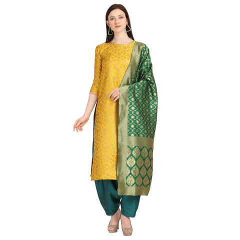 Yellow Weaving Jacquard Straight Cut Suit