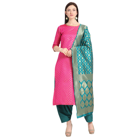 Pink Weaving Jacquard Straight Cut Suit