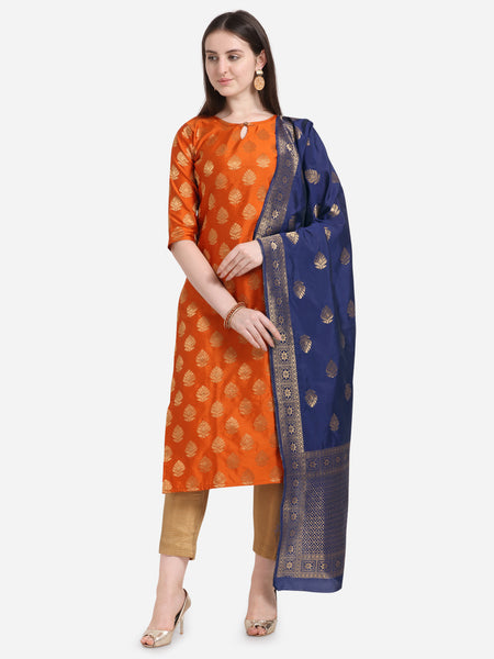 Orange Weaving Jacquard Straight Cut Suit
