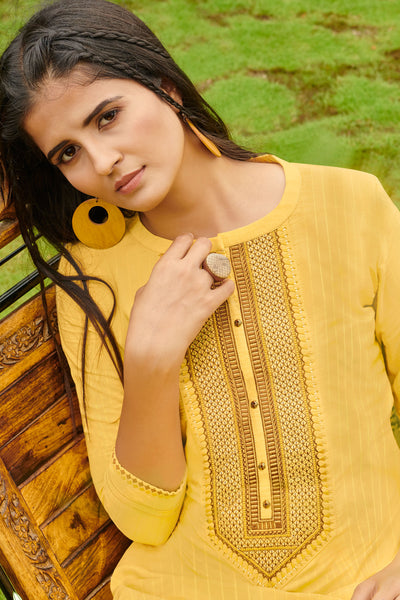 Beautiful and Designer Yellow Color Straight Cut Kurti