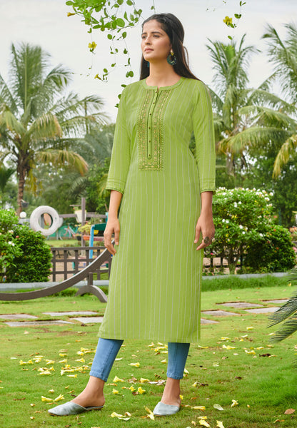 Beautiful and Designer Parrot Green Color Straight Cut Kurti