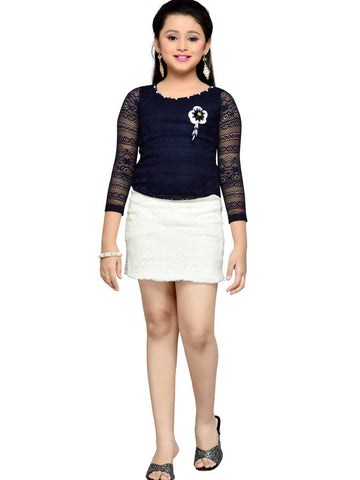 Navy Blue and White Dress - PurpleTulsi.com