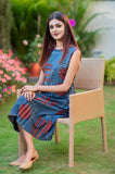 Blue Stripes Cotton Hand Block Printed Dress