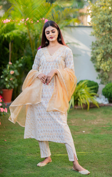 White Cotton Block Printed Anarkali Kurti
