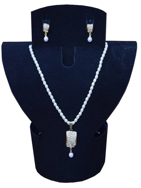 White Artifical Pearl and Australian Diamond Necklace and Earrings Set - PurpleTulsi.com