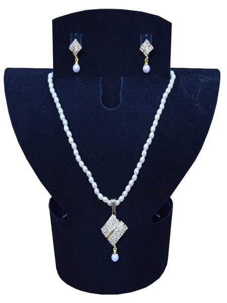 Golden Artifical Pearl and Australian Diamond Necklace and Earrings Set - PurpleTulsi.com