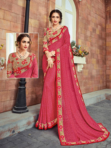 Indian Women pink color Georgette Saree