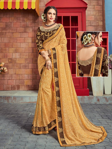 Indian Women multi color Georgette Saree