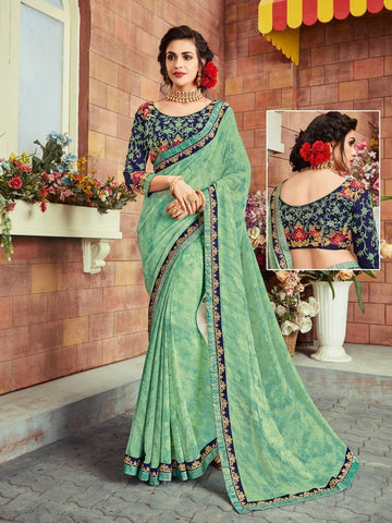 Indian Women light green color Georgette Saree